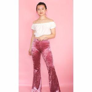 (72) Pink Velvet Wide Leg Pants